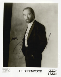 LEE GREENWOOD - PRINTED PHOTOGRAPH SIGNED IN INK