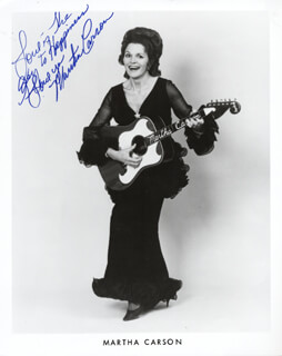 MARTHA CARSON - AUTOGRAPHED SIGNED PHOTOGRAPH