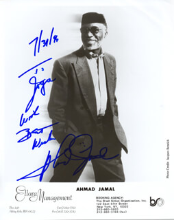 AHMAD JAMAL - AUTOGRAPHED INSCRIBED PHOTOGRAPH 07/31/1996