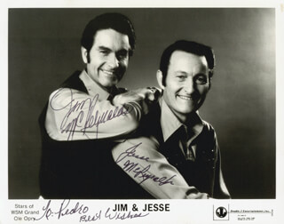 JIM & JESSE - AUTOGRAPHED INSCRIBED PHOTOGRAPH CO-SIGNED BY: JIM & JESSE (JIM MC REYNOLDS), JIM & JESSE (JESSE MC REYNOLDS)