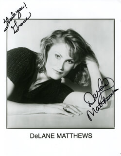 DELANE MATTHEWS - INSCRIBED PRINTED PHOTOGRAPH SIGNED IN INK