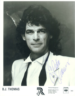 B. J. THOMAS - INSCRIBED PRINTED PHOTOGRAPH SIGNED IN INK