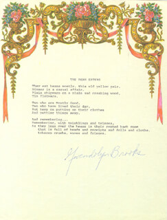 Autographs: GWENDOLYN BROOKS - POEM SIGNED