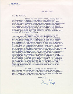 IRWIN SHAW - TYPED LETTER SIGNED 01/28/1979