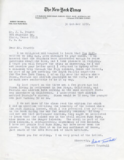 ROBERT TRUMBULL - TYPED LETTER SIGNED 10/30/1972
