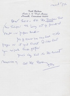Autographs: FAITH BALDWIN - AUTOGRAPH LETTER SIGNED 03/05/1976
