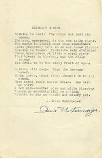 LOUIS UNTERMEYER - POEM SIGNED