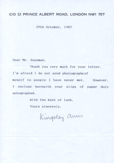 KINGSLEY AMIS - TYPED LETTER SIGNED 10/29/1987