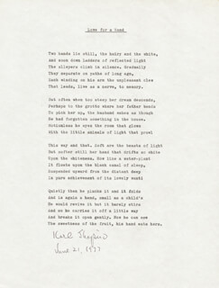 Autographs: KARL SHAPIRO - POEM SIGNED 06/21/1977