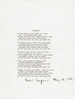 KARL SHAPIRO - POEM SIGNED 05/18/1981