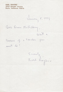 KARL SHAPIRO - AUTOGRAPH LETTER SIGNED 01/08/1979