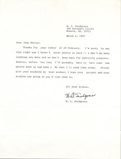 W.D. SNODGRASS - TYPED LETTER SIGNED 03/02/1991