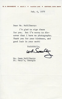 WILLIAM A. SWANBERG - TYPED LETTER SIGNED 02/06/1979