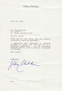 SIDNEY SHELDON - TYPED LETTER SIGNED 04/22/1992