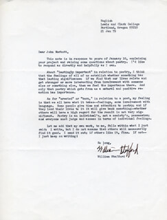 WILLIAM STAFFORD - TYPED LETTER SIGNED 01/21/1979