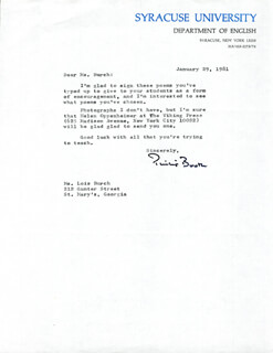 PHILIP BOOTH - TYPED LETTER SIGNED 01/29/1981
