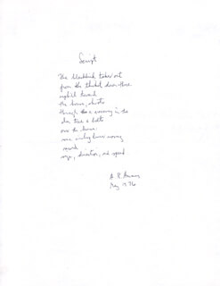 A. R. AMMONS - AUTOGRAPH POEM SIGNED 05/1976