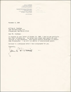 BRIGADIER GENERAL JAMES A. McDIVITT - TYPED LETTER SIGNED 11/08/1989