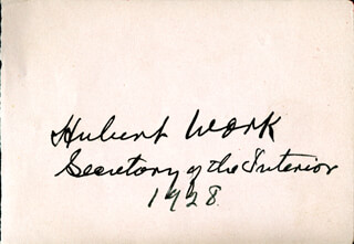 Autographs: HUBERT WORK - SIGNATURE(S) 1928