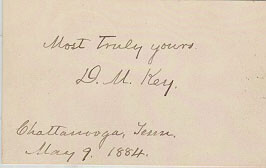 Autographs: DAVID M. KEY - AUTOGRAPH SENTIMENT SIGNED 05/09/1884