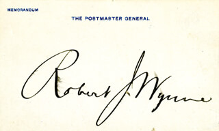 ROBERT J. WYNNE - PRINTED CARD SIGNED IN INK