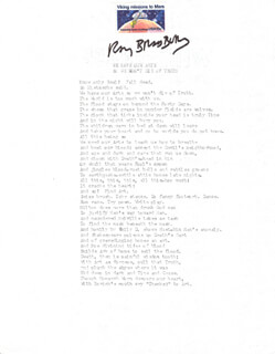 RAY BRADBURY - POEM SIGNED