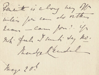 MADGE KENDAL - AUTOGRAPH NOTE SIGNED 05/20/1903