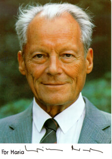 CHANCELLOR WILLY BRANDT (GERMANY) - AUTOGRAPHED INSCRIBED PHOTOGRAPH  - HFSID 206410