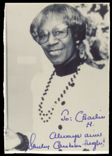 SHIRLEY CHISHOLM - AUTOGRAPHED INSCRIBED PHOTOGRAPH