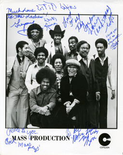 MASS PRODUCTION - AUTOGRAPHED SIGNED PHOTOGRAPH CO-SIGNED BY: MASS PRODUCTION (KEVIN DOUGLAS), MASS PRODUCTION (JAMES OTISTE DRUMGOLE), MASS PRODUCTION (LARRY MARSHALL), MASS PRODUCTION (GREGORY MCCOY), MASS PRODUCTION (RICARDO WILLIAMS), MASS PRODUCTION (TYRONE WILLIAMS)