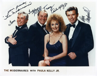 MODERNAIRES - AUTOGRAPHED SIGNED PHOTOGRAPH CO-SIGNED BY: THE MODERNAIRES (BILL TRACY), THE MODERNAIRES (PAULA KELLY JR.), THE MODERNAIRES (TOM TRAYNOR)