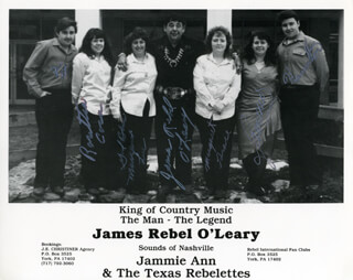 JAMES REBEL O'LEARY - PRINTED PHOTOGRAPH SIGNED IN INK CO-SIGNED BY: JAMMIE ANN & THE TEXAS REBELETTES