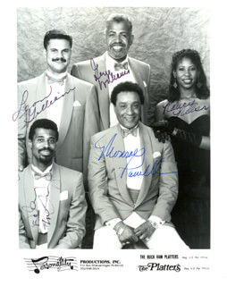 THE PLATTERS - INSCRIBED PRINTED PHOTOGRAPH SIGNED IN INK CO-SIGNED BY: THE PLATTERS (LEON GILLIAM), THE PLATTERS (NANCY NELSON), THE PLATTERS (MONROE POWELL), THE PLATTERS (GENE WILLIAMS), THE PLATTERS (DELANEY McQUAIG)