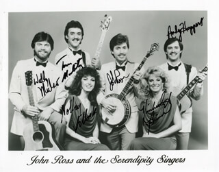 SERENDIPITY SINGERS - AUTOGRAPHED SIGNED PHOTOGRAPH CO-SIGNED BY: SERENDIPITY SINGERS (JOHN ROSS), SERENDIPITY SINGERS (WALLY MULSO), SERENDIPITY SINGERS (TOM MOLITOR), SERENDIPITY SINGERS (HOLLY SETLOCK), SERENDIPITY SINGERS (KIMBERELY BIWER), SERENDIPITY SINGERS (ANDY HOOPER)