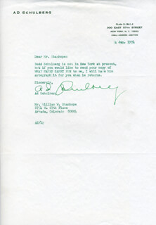 AD SCHULBERG - TYPED LETTER SIGNED 01/04/1974