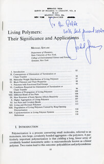 MICHAEL SZWARC - INSCRIBED ARTICLE SIGNED