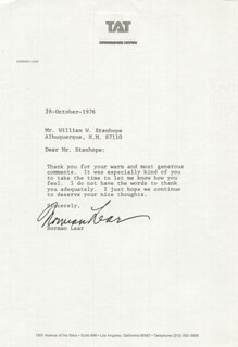 NORMAN LEAR - TYPED LETTER SIGNED 10/28/1976