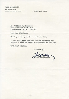 FRANK F. MANKIEWICZ - TYPED LETTER SIGNED 06/28/1977
