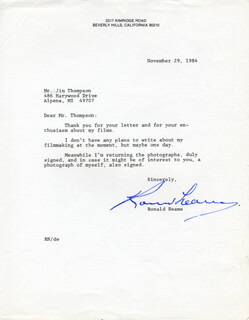 RONALD NEAME - TYPED LETTER SIGNED 11/29/1984