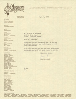 JOE PASTERNAK - TYPED LETTER SIGNED 09/06/1972