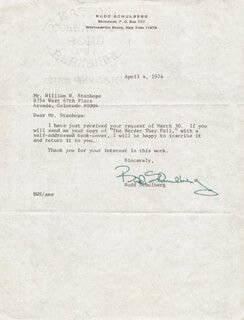 BUDD SCHULBERG - TYPED LETTER SIGNED 04/04/1974