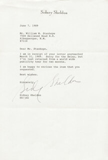 SIDNEY SHELDON - TYPED LETTER SIGNED 06/07/1989