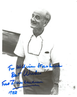 FRED ZINNEMANN - AUTOGRAPHED INSCRIBED PHOTOGRAPH 1988