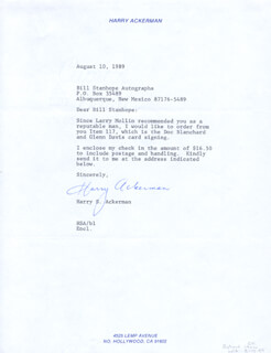 Autographs: HARRY S. ACKERMAN - TYPED LETTER SIGNED 08/10/1989