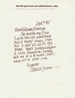 DAVID GREENE - AUTOGRAPH LETTER SIGNED 09/07/1985