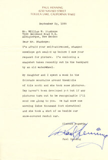PAUL HENNING - TYPED LETTER SIGNED 09/22/1988