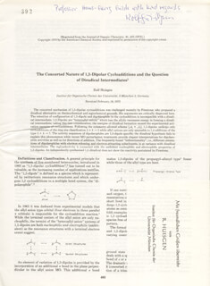 ROLF HUISGEN - INSCRIBED ARTICLE SIGNED
