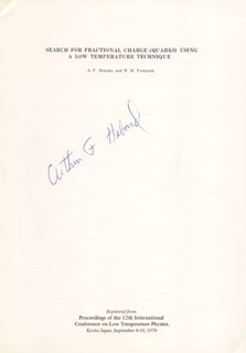ARTHUR F. HEBARD - ARTICLE SIGNED