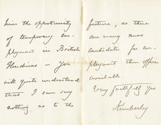 JOHN (EARL OF KIMBERLEY) WODEHOUSE - AUTOGRAPH LETTER SIGNED 04/30/1882