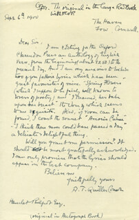 SIR ARTHUR THOMAS QUILLER-COUCH - AUTOGRAPH LETTER SIGNED 09/06/1900